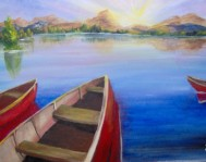 Red Boats at Sunrise